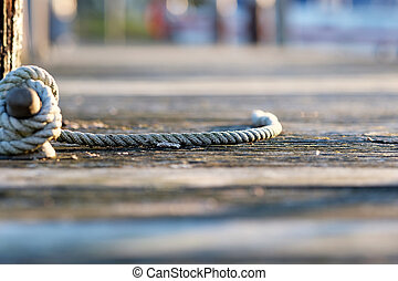 Rope on jetty, Lake Cayuga at Ithaca, New York