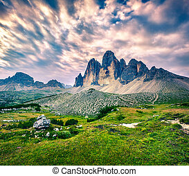 Fantastic colors landscape in the National Park Tre Cime di...