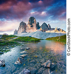 Colorful summer scene on the lake Rienza - Ursprung in...