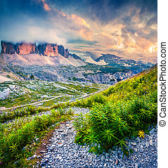 Fantastic colors sunset in the National Park Tre Cime di...