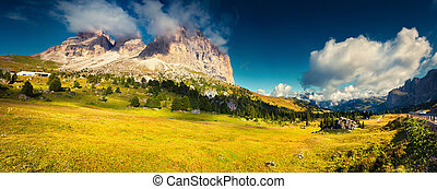 Sunny morning on the Val Gardena valley. View of the Sella...