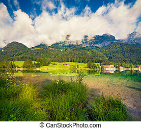Sunny summer scene on the Hintersee lake. Morning in...