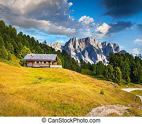 Summer scene with Pizes de Cir mountain range Colorful sunny...