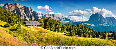 Summer scene with Pizes de Cir mountain range. Colorful...