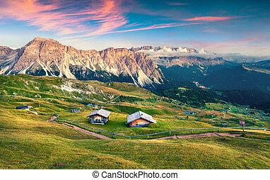 Evening scene in Gardena valley with Pizes de Cir mountain...