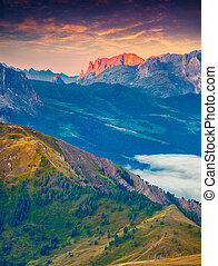 Colorful morning view of Sciliar (Schlern) mountain masive...