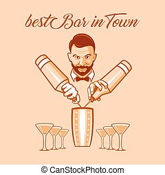 Best bar in town ad - Handsome bartender welcome guests at...