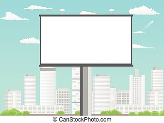 Billboard with empty screen against skyscrapers and blue cloudy sky
