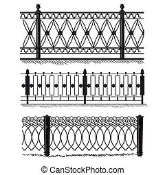 Metal wrought-iron gates, grilles, fences. Architecture gate and fence objects