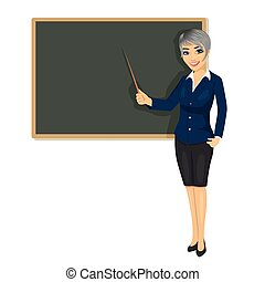 female teacher with pointer standing next to chalkboard