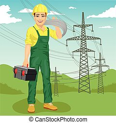 electrician man standing near high voltage power lines in summer