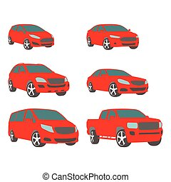 Vector set of various city urban traffic vehicles icons compact, sedan, suv, van, pickup