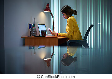 College Girl Female Student Studying At Night - Young woman...