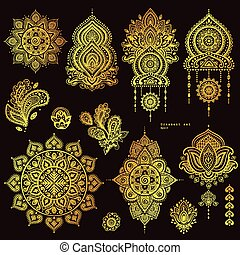 Vector set of Indian floral paisley ornaments. Persian...