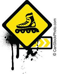 Grunge sign with roller skates