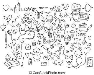 Hand drawn love doodle icons illustration on white.