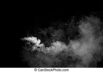 Smoke on black background - White smoke shape concet on...