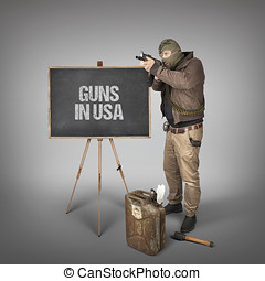 Guns in USA text on blackboard with terrorist holding...