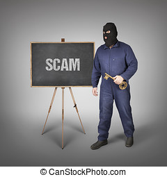 Scam text on blackboard with thief