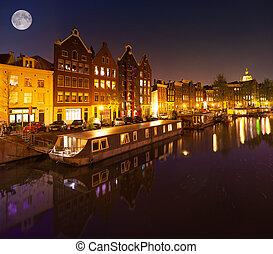 bonito, pacata, noturna, vista, de, Amsterdão, cidade