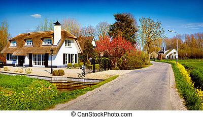 typowy, Holenderski, Wieś, Zaanstad, w, wiosna, słoneczny,...