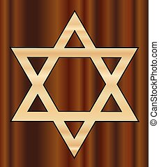Wooden Star of David - A depiction of the Star of David in...