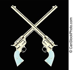 Crossed Guns Pair - Two long barel six guns crossed set on a...