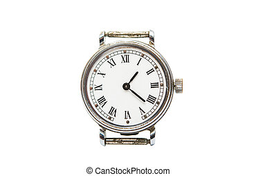 old mechanical clock on a white background