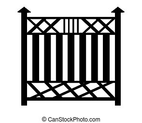 Black outline of a fence. 3d image on white background