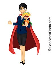 super hero mom in business suit holding her daughter with her hands and showing thumbs up