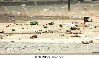 Trash on the road. Empty bottles and cans. Ecology won't...