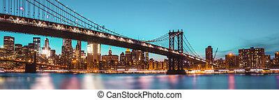 Manhattan Bridge At Night - Manhattan Skyline and Manhattan...