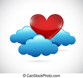 heart cloud concept illustration design graphic.