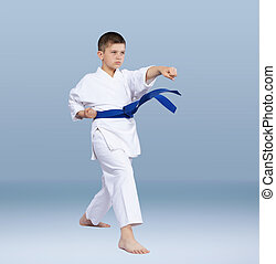 Karate athlete beats punch arm - With a blue belt karate...