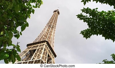 Eiffel tower and gray sky. Branches moving in the wind....