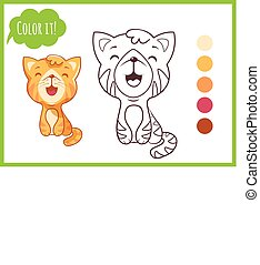 Cute little cat. Cartoon vector kitty character isolated on a white background with black outline for coloring book for preschool.