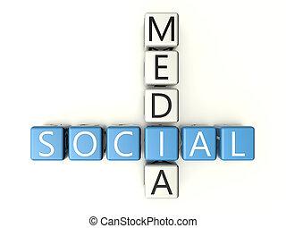 Social Media crossword on white background - 3d render...