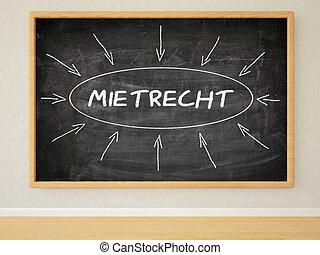 Mietrecht - german word for tenancy law - 3d render...