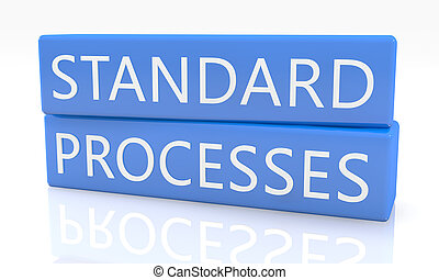 Standard Processes - 3d render blue box with text on it on...