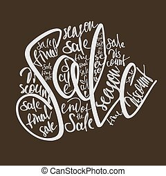 shopping lettering sale - shopping promotion with vintage...