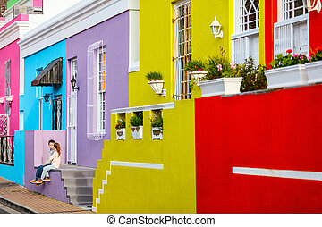 Colorful Bo Kaap - Kids at colorful Bo Kaap quarter, a...