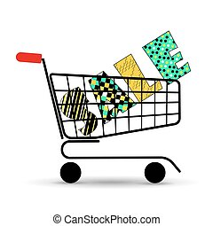 Concept of discount. Shopping cart with sale. Vector illustration. Beautiful letters.