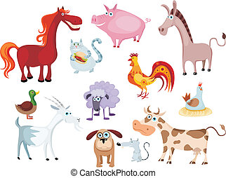 new farm animal set - vector illustration of a new farm...
