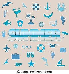 Summer symbols - Illustration of summer symbols with summer...