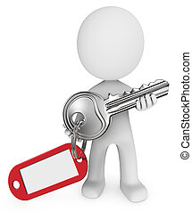 Key. - Dude 3D character holding Large Metal Key with key...