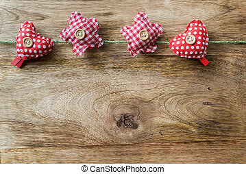 clothespins - red heart and star clothespins for background