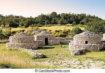 reconstruction village Paleolithic in Abruzzo (Italy)