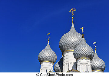 Domes of Rostov Kremlin, Golden ring, Russia