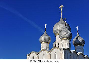 Rostov Kremlin, Russia - Domes of Rostov Veliky Kremlin,...