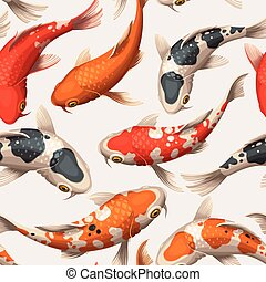 Seamless koi carps - Varicolored floating koi carps vector...